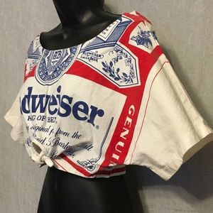 7c8436310e2d4a Carabella Collections Tops - Retro 90 s Budweiser Off the Shoulder Tie Crop  Top